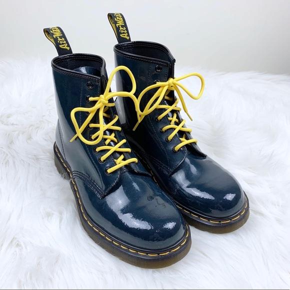 bb832ac0d19a8 Dr. Martens Shoes | Patent Leather Doc Martens Boots W Yellow Laces ...